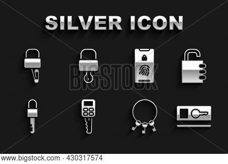 Set Car Key With Remote, Safe Combination Lock, Key Card, Bunch Of Keys, Locked, Mobile Fingerprint