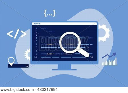 Seo Meta Data Optimization Concept. Vector Illustration With Hypertext Code In Blue Color. Http Webs