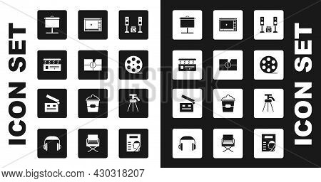 Set Home Stereo With Two Speakers, Old Film Movie Countdown Frame, Movie Clapper, Projection Screen,