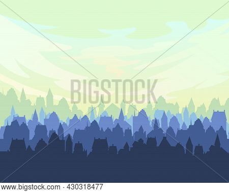 Small Town Streets Silhouette. Roofs Of Houses.clouds. Country Landscape. Flat Cartoon Style. Illust