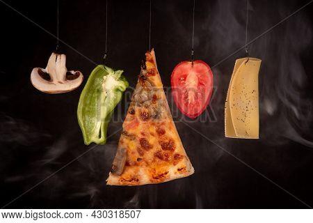 Slice Of Mozzarella Delicious Pizza Tomato Cheese Peeper And Mushroom Ingredients