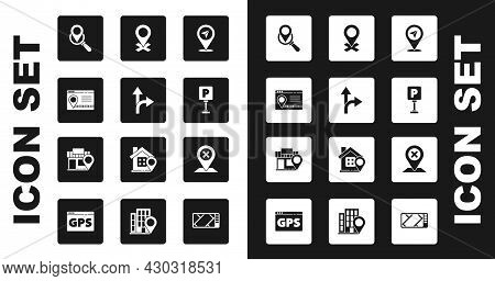 Set Location, Road Traffic Sign, Infographic Of City Map Navigation, Search Location, Parking, And W