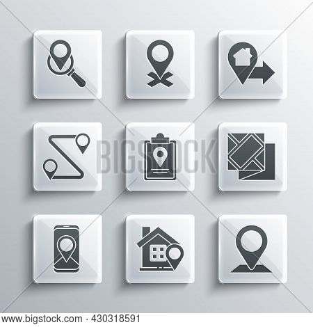 Set Location With House, Folded Map, Location Marker, City Navigation, Route, Search And Icon. Vecto