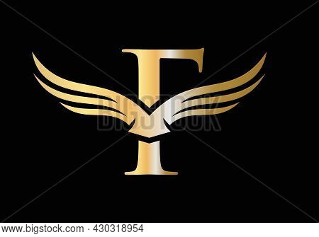 F Letter Wing Logo Design. Initial Flying Wing F Letter Logo. Letter F Logo And Wings Concept