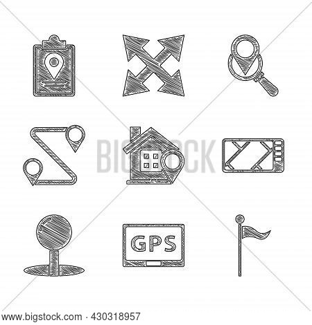Set Location With House, Gps Device Map, Marker, Push Pin, Route Location, Search And Folded Icon. V