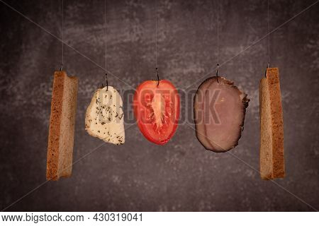 Fresh Healthy Sandwich Ingredients On Black Background. Cheese, Tomato, Meat, Bread And Halloumi