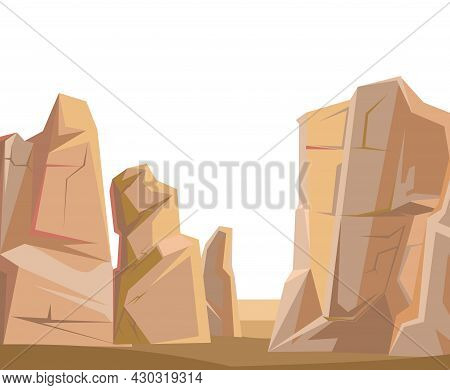 Stone Brown Rocky Landscape. Deserted Place. Rocky Cliffs. Peaks Of The Mountains. Isolated On White