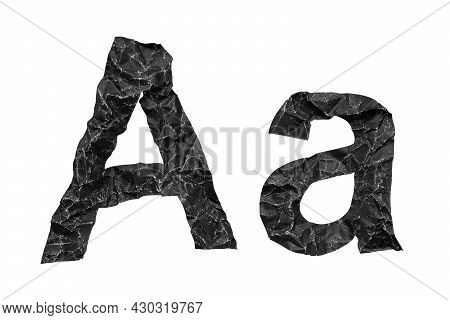 Crumpled Paper Texture Alphabet Letter A, A, Old Black Creased Paper, Isolated On White Background.