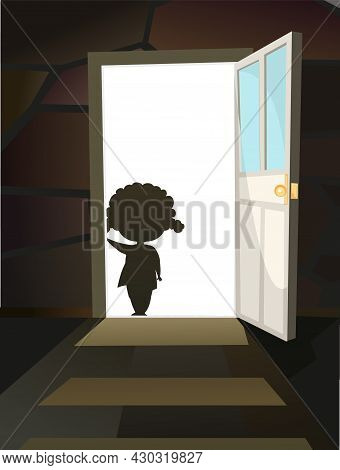 Childhood Fear. A Little Girl Peers Into A Dark Room Through An Open Door. Day. Steps To Basement. I
