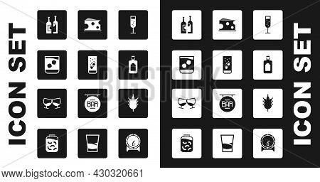 Set Glass Of Champagne, Effervescent Tablets In Water, Whiskey, Bottles Wine, Whiskey Bottle, Cheese
