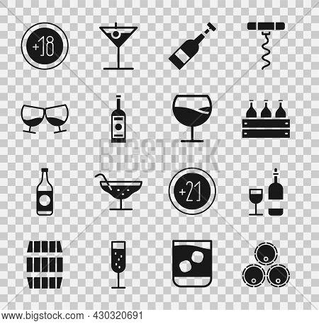 Set Wooden Barrels, Wine Bottle With Glass, Bottles Of Wine Wooden Box, Opened, Glass Vodka, Cognac
