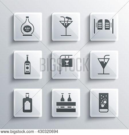 Set Pack Of Beer Bottles, Effervescent Tablets In Water, Cocktail, Street Signboard With Bar, Whiske