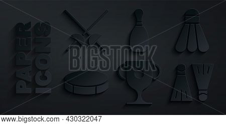 Set Award Cup, Badminton Shuttlecock, Hockey Puck, Rubber Flippers For Swimming, Bowling Pin And Fen