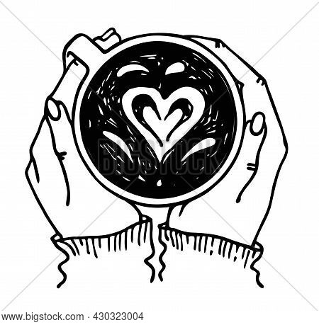Vector Illustration Of Hands Holding A Cup Of Hot Tea Or Coffee. Isolated. Warming Hands By Mug Of H