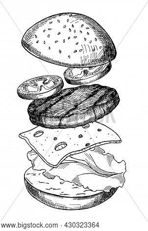 Big Burger, Hamburger Hand Drawn Vector Illustration Realistic Sketch. Hamburger Ingredients With Me