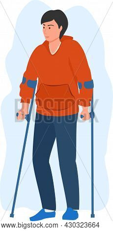 Man Is Sick And Using Crutches. Cartoon Male With Crutches. Health Insurance Client Character. Injur