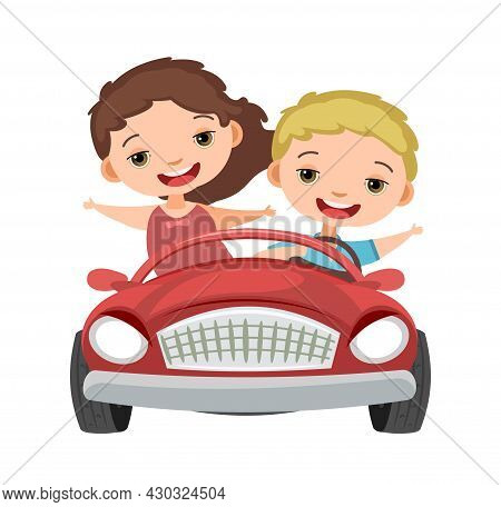 Kids Drives A Car. Red Childrens Automobile. Toy Vehicle. With A Motor. Nice Passenger Auto. Pedal O