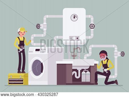 Professional Plumbers Installing, Maintaining Water Pipe System In Kitchen, Bathroom. Technicians Up