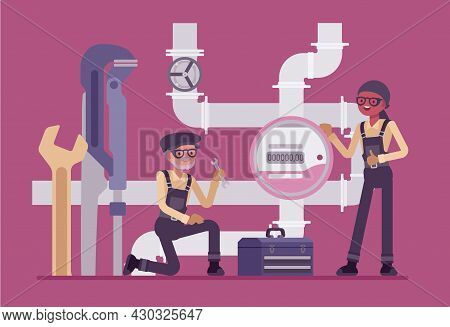 Plumbers, Inspector Of Plumbing Service, Water Counting Meter Installation. Calibration, Maintenance