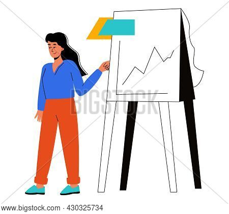 A Woman Makes A Report On Analytics. Business Analytics, Summing Up The Results. Vector Illustration