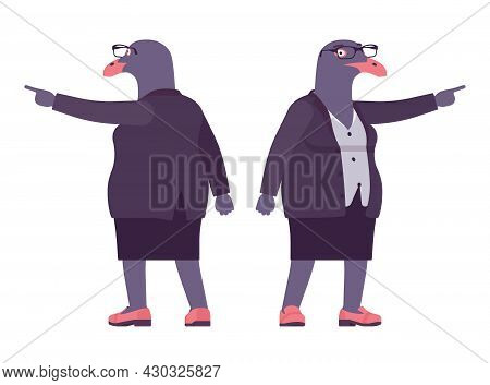 Bird Woman, Seagull Head Female Pigeon In Human Wear Pointing. Plump Rounded Person With Short Legs,