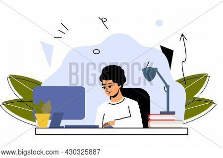 The Student Does His Homework At The Computer. Online Training, Home Training