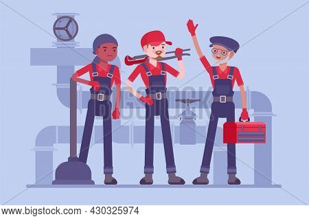 Professional Plumbing Service Team, Technicians, Fixing Blocks And Leakages. Experienced, Fully-equi
