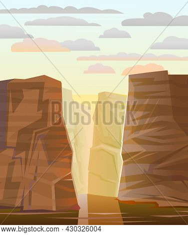 Rocky Mountain Gorge. Stone Rocky Landscape. River With Reflection. High Peaks And Cliffs. Sky With