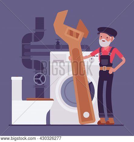 Senior Plumber, Emergency Plumbing Service, Sanitary Toilet Work, Bathroom Fitting. Old Skilled Hand