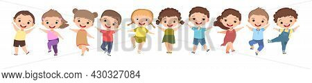 Children Dance Joy. Happy Childhood. Little Boys And Girls. Kid Is Jumping For Joy At The Party. Nic