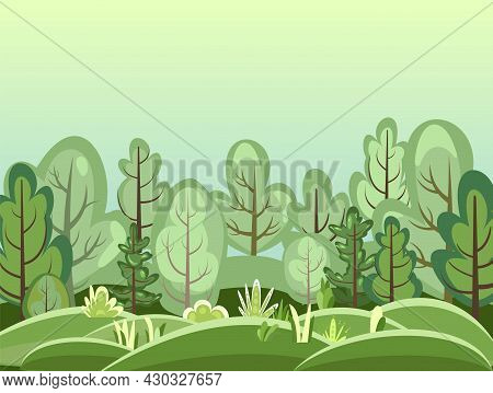 Flat Forest. Illustration In A Simple Symbolic Style. Fog. Funny Green Rural Landscape. Comic Design