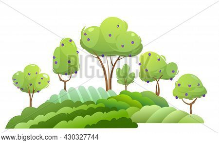 Garden And Rolling Hills. Rural Landscape With Fruit Plum Trees And Farmer Hills. Cute Funny Cartoon