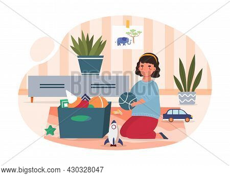 Girl Putting Toys. Small Child Plays With His Soft Toys. Baby Resting At Home. Tidying Up Things In