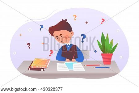 Young Boy Doing Homework. Teenager Looks In Textbook. Little Child Solves Equations. Difficulty Find