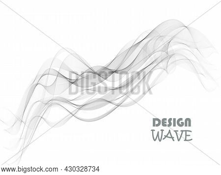 Abstract Smooth Gray Wave Vector. Curve Flow Grey Motion Illustration