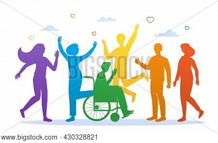 Silhouettes Of People. People Painted In Lgbt Colors. Picture Of Equality Of All Groups. Supporting