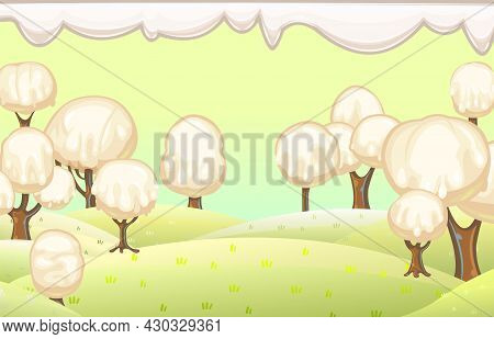 Fabulous Sweet Forest. Ice Cream, Drips Of White Milk Cream. Sky. Trees With Chocolate Trunks. Cute