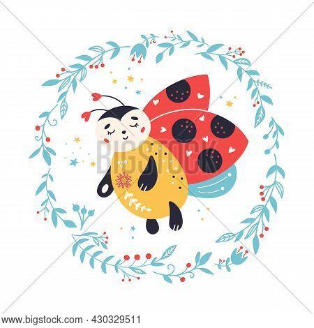 Cartoon Ladybug Vector Cute Nursery Ladybird Insect