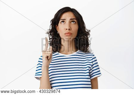 Sad Disappointed Girl, Express Regret, Pointing Up Feel Unfair, Complaining On Bad Logo, Standing Di