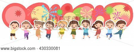 Children Dance Joy. Happy Childhood. Little Boys And Girls. Banner, Kid Is Jumping For Joy At The Pa