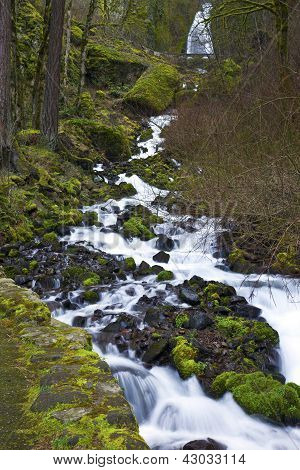 Cascading Water In The Columbia Gorge Oregon.