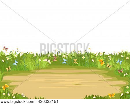 Glade. Place In A Meadow With Wildflowers, Butterfly. Beautiful Green Rural Landscape. Isolated. Car