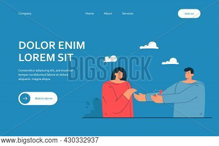 Man Proposing To Woman. Flat Vector Illustration. Male Character Putting Wedding Ring On Happy Femal