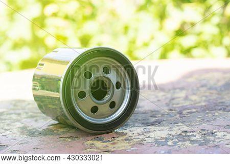 New Oil Filter. Automotive Spare Part. Service Maintenance Car Concept