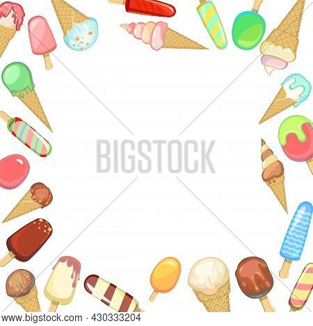 Frame Of Various Ice Creams In A Waffle Cone And Popsicle On A Stick. Mess. Summer Sweet Dairy Produ