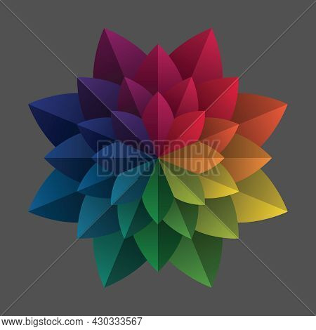 Rainbow Eight Petal Flower. Colorful Mandala Pattern Shape. Gradient Color Theory. Design Elements F