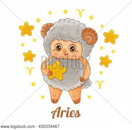 Aries Astrology Zodiac Sign.  Funny Little Ram Or Male Sheep. Cute Baby Animal Character With Stars
