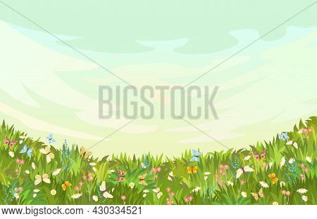 Meadow With Wildflowers And Butterflies. Grass Close-up. Beautiful Green Landscape. Cartoon Style. F