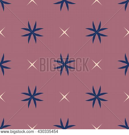 Simple Vector Geometric Floral Texture. Abstract Seamless Pattern With Flower Silhouettes, Crosses,