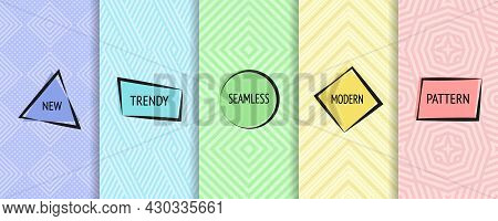 Geometric Seamless Patterns. Vector Set Of Stylish Colorful Backgrounds With Minimal Labels. Abstrac